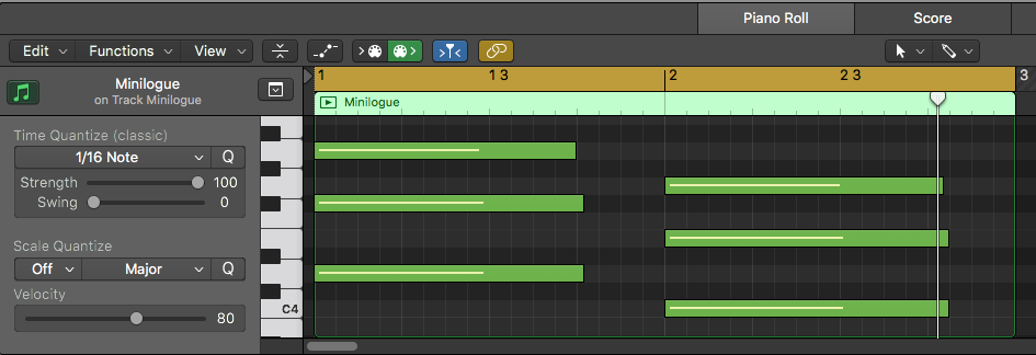 MIDI region with chords