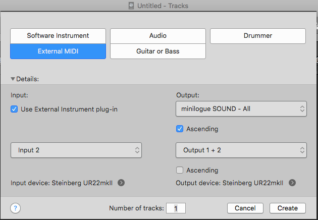 New external MIDI track